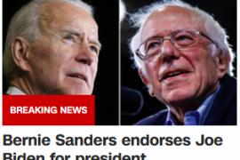 伯尼·桑德斯(Bernie Sanders )支持乔·拜登( Joe Biden)成为总统。