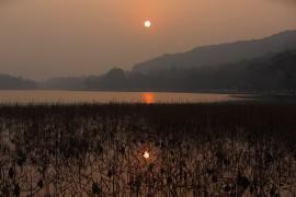 日落,西湖二月